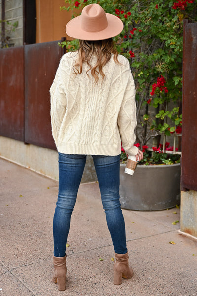 Make It Easier Cable Knit Sweater - Ivory womens trendy oversized cable knit long sleeve sweater closet candy back