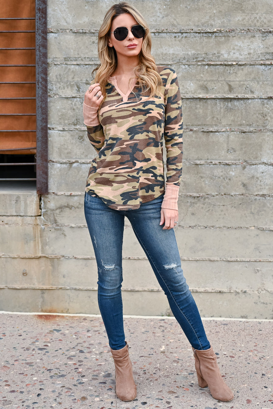 This Is It Long Sleeve Top - Camo women's casual long sleeve v-neck waffle knit top with pink contrast closet candy front