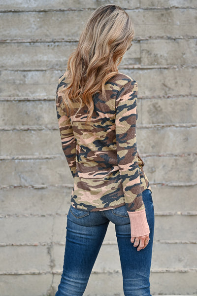 This Is It Long Sleeve Top - Camo women's casual long sleeve v-neck waffle knit top with pink contrast closet candy back