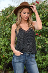 LOVE STITCH Slice Of Heaven Spotted Cami - Black womens trendy spotted lace trimmed racerback cami closet candy front 2