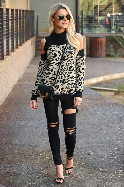 Can't Steal My Spotlight Sweater - Taupe & black women's leopard print, cold-shoulder sweater, Closet Candy Boutique 5