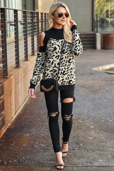 Can't Steal My Spotlight Sweater - Taupe & black women's leopard print, cold-shoulder sweater, Closet Candy Boutique 1