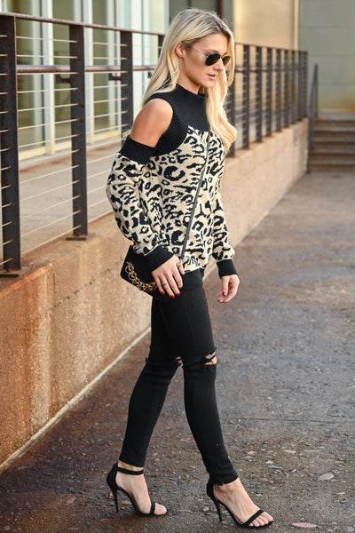 Can't Steal My Spotlight Sweater - Taupe & black women's leopard print, cold-shoulder sweater, Closet Candy Boutique 3