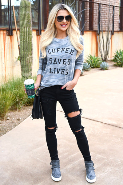 """Coffee Saves Lives"" Camo Sweatshirt - Heather Grey women's camo print long sleeve graphic top, Closet Candy Boutique 1"