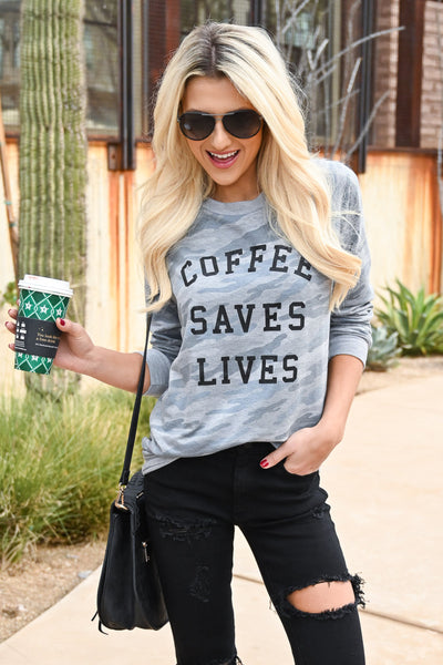 """Coffee Saves Lives"" Camo Sweatshirt - Heather Grey women's camo print long sleeve graphic top, Closet Candy Boutique 2"