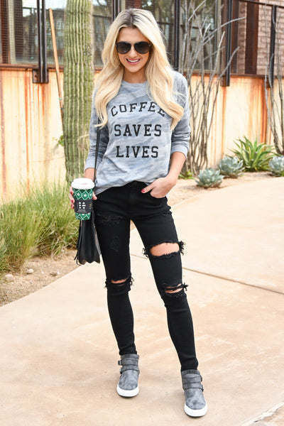 """Coffee Saves Lives"" Camo Sweatshirt - Heather Grey women's camo print long sleeve graphic top, Closet Candy Boutique 4"