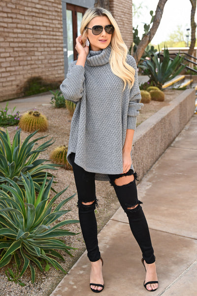 Let's Make S'mores Sweater - Grey cute turtleneck sweater, Closet Candy Boutique 2