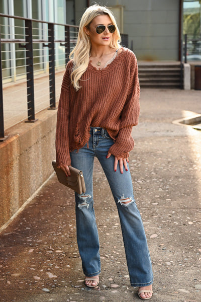 Torn Without You Sweater - Brick women's long sleeve frayed off the shoulder top, Closet Candy Boutique 3