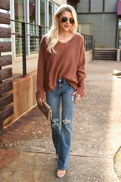 Torn Without You Sweater - Brick women's long sleeve frayed off the shoulder top, Closet Candy Boutique 4