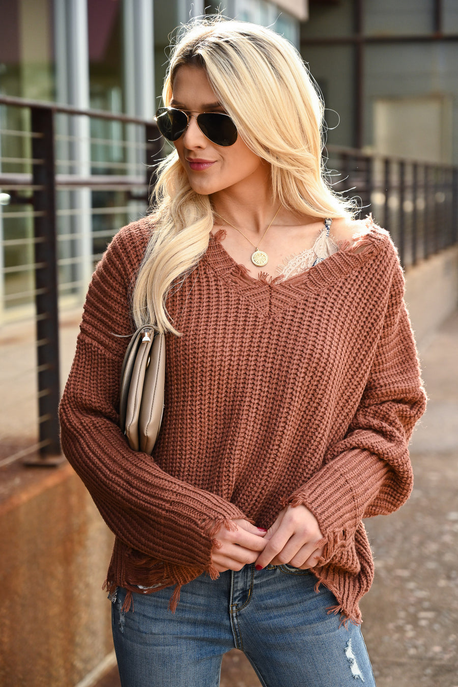 Torn Without You Sweater - Brick women's long sleeve frayed off the shoulder top, Closet Candy Boutique 1
