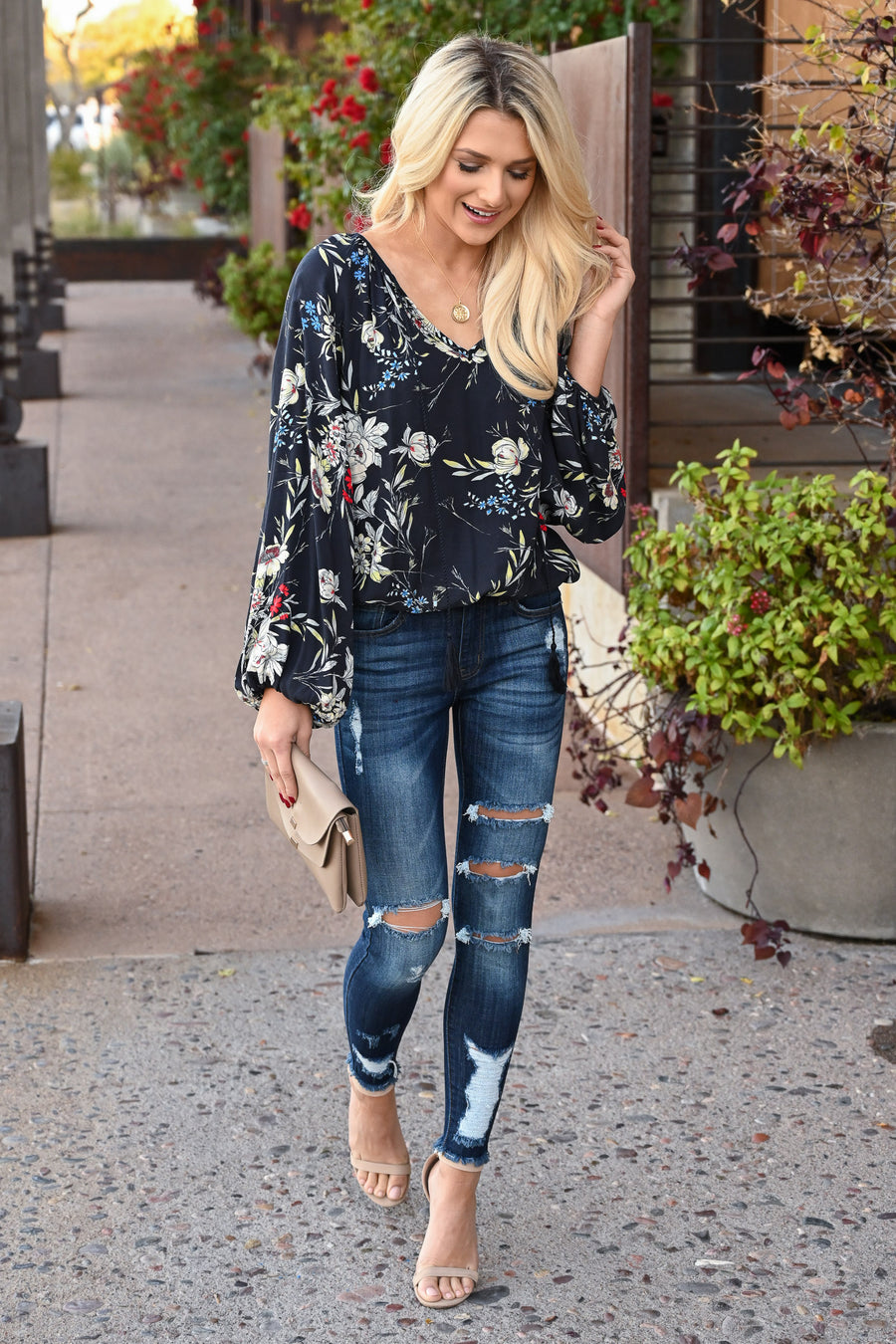 LOVE STITCH Whisk Me Away Top - Midnight women's floral flowy blouse, Closet Candy Boutique 1