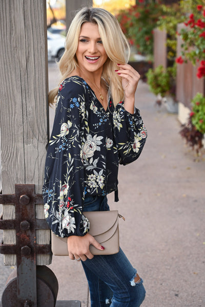 LOVE STITCH Whisk Me Away Top - Midnight women's floral flowy blouse, Closet Candy Boutique 4