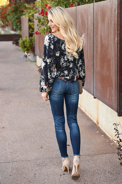 LOVE STITCH Whisk Me Away Top - Midnight women's floral flowy blouse, Closet Candy Boutique 3
