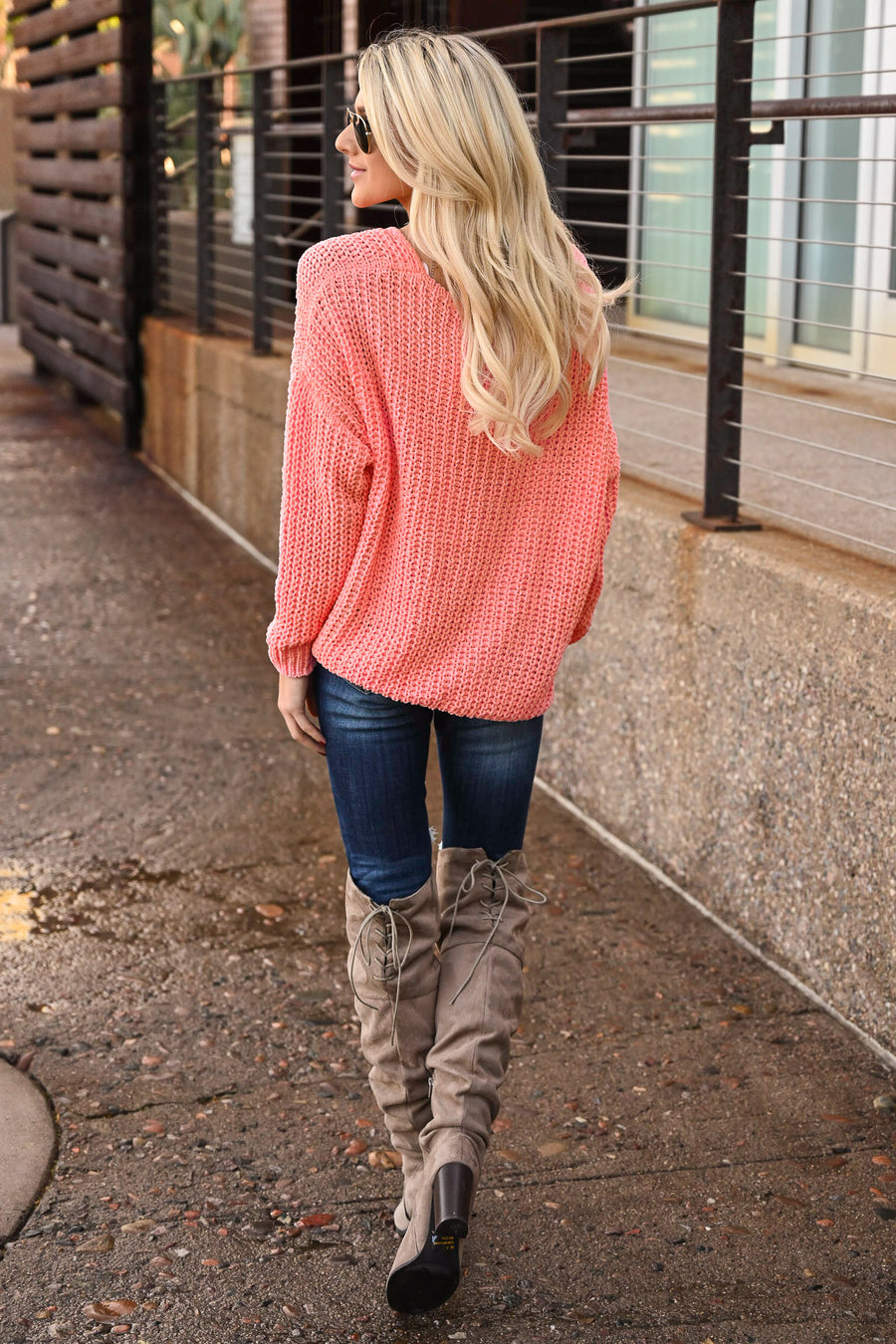 Brighter Days Sweater - Neon Coral women's off the shoulder knit sweater, Closet Candy Boutique 1