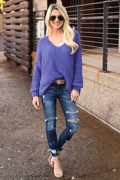 Brighter Days Sweater - Iris women's off the shoulder knit sweater, Closet Candy Boutique 3