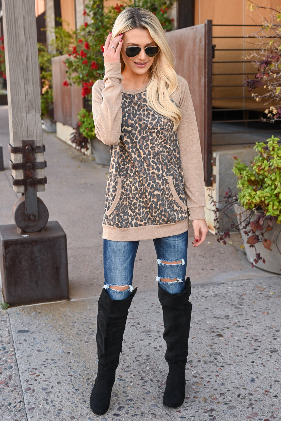 Coffee Run Leopard Top - Latte women's animal print raglan with kangaroo pocket, Closet Candy Boutique 1