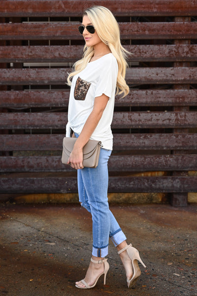 Girl Put Your Records On Top - Ivory fun and flirty tee, gold sequins chest pocket, trendy front tie, closet candy boutique 3