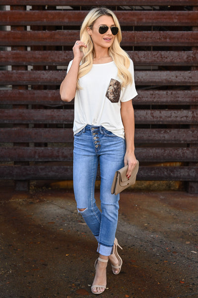 Girl Put Your Records On Top - Ivory fun and flirty tee, gold sequins chest pocket, trendy front tie, closet candy boutique 1