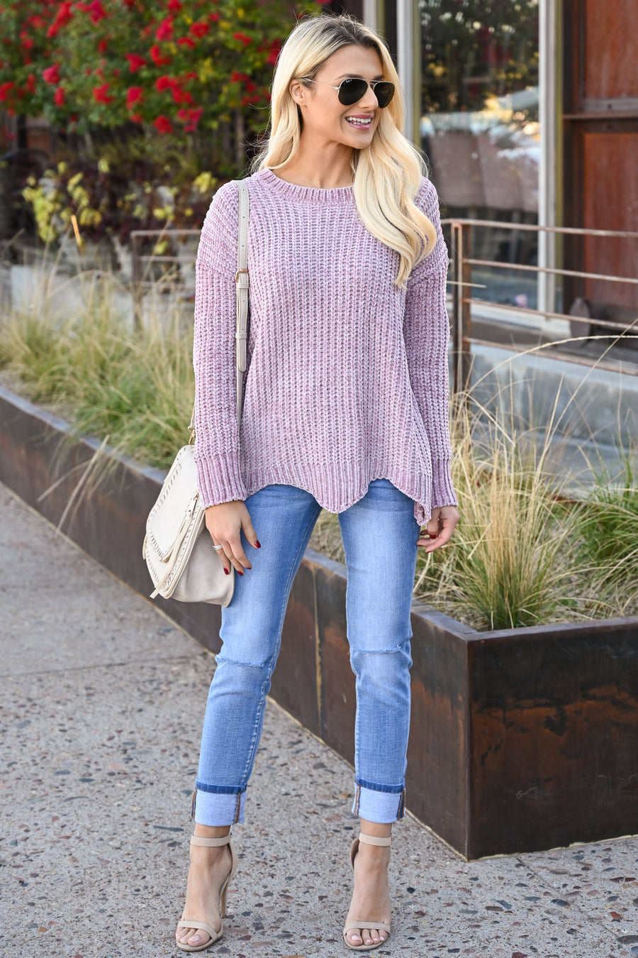 Your Only Love Sweater - Lavender women's super soft scalloped hem top, Closet Candy Boutique 1