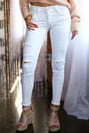 KAN CAN Distressed Jeans - White women's skinny distressed jeans, Closet Candy Boutique 1