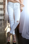 KAN CAN Distressed Jeans - White women's skinny distressed jeans, Closet Candy Boutique 3