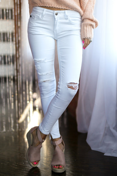 KAN CAN Distressed Jeans - White skinny distressed jeans, front, Closet Candy Boutique