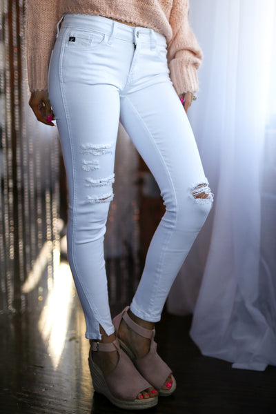 KAN CAN Distressed Jeans - White skinny distressed jeans, side, Closet Candy Boutique