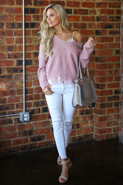 Up For Anything Sweater - Blush frayed hem v-neck sweater, cute Valentine's Day outfit, Closet Candy Boutique 2