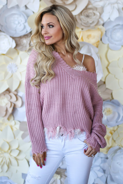 Up For Anything Sweater - Blush frayed hem v-neck sweater, cute Valentine's Day outfit, Closet Candy Boutique 1