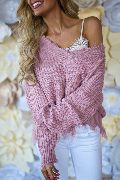 Up For Anything Sweater - Blush frayed hem v-neck sweater, cute Valentine's Day outfit, Closet Candy Boutique 3