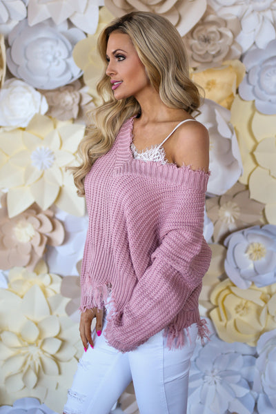 Up For Anything Sweater - Blush frayed hem v-neck sweater, cute Valentine's Day outfit, Closet Candy Boutique 5