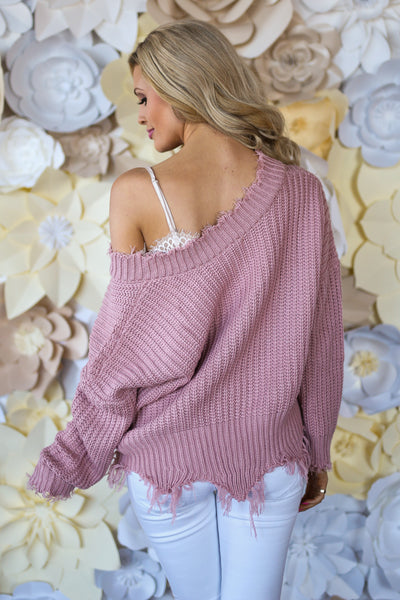 Up For Anything Sweater - Blush frayed hem v-neck sweater, cute Valentine's Day outfit, Closet Candy Boutique 4