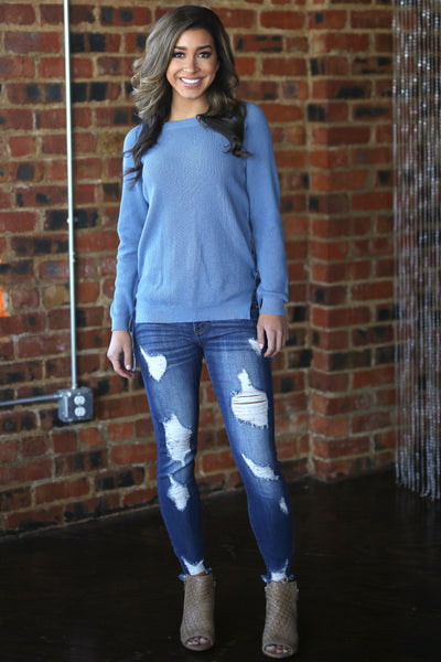 ELAN Clear Sky Sweater - Dusty Blue knit lace up sweater, outfit, Closet Candy Boutique