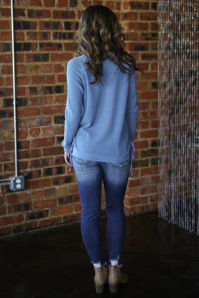 ELAN Clear Sky Sweater - Dusty Blue knit lace up sweater, back, Closet Candy Boutique