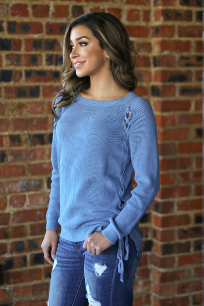 ELAN Clear Sky Sweater - Dusty Blue knit lace up sweater, side, Closet Candy Boutique