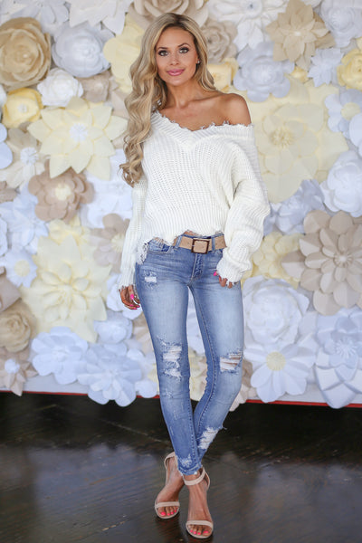 Up For Anything Sweater - Ivory knit v-neck sweater with frayed edges, Closet Candy Boutique 5