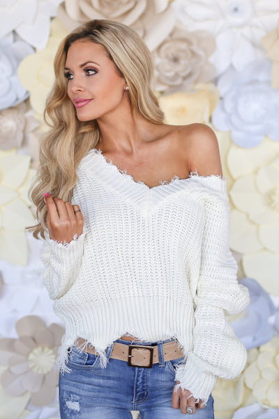 Up For Anything Sweater - Ivory knit v-neck sweater with frayed edges, Closet Candy Boutique 2