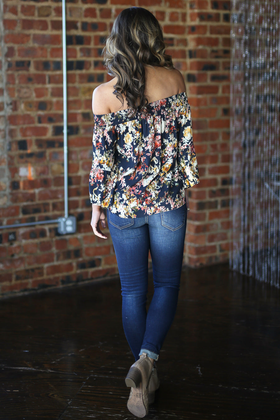 Shine From Within Top - Black floral off the shoulder top, side, Closet Candy Boutique