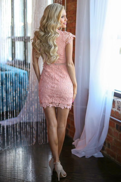 Crushing On You Dress - Blush crochet lace dress, Closet Candy Boutique 2