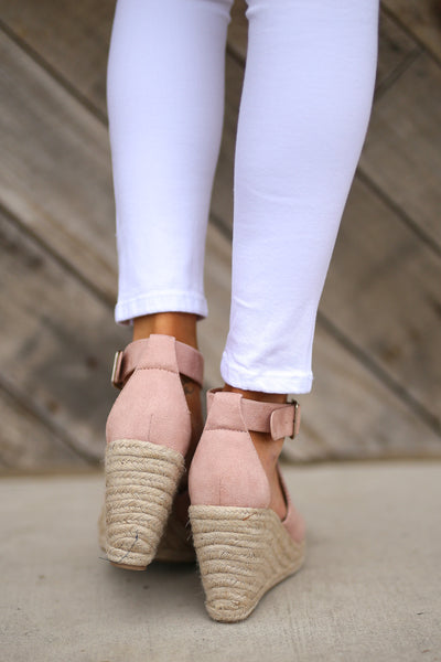 One Step Ahead Wedges - Blush espadrilles womens peep toe shoes closet candy boutique