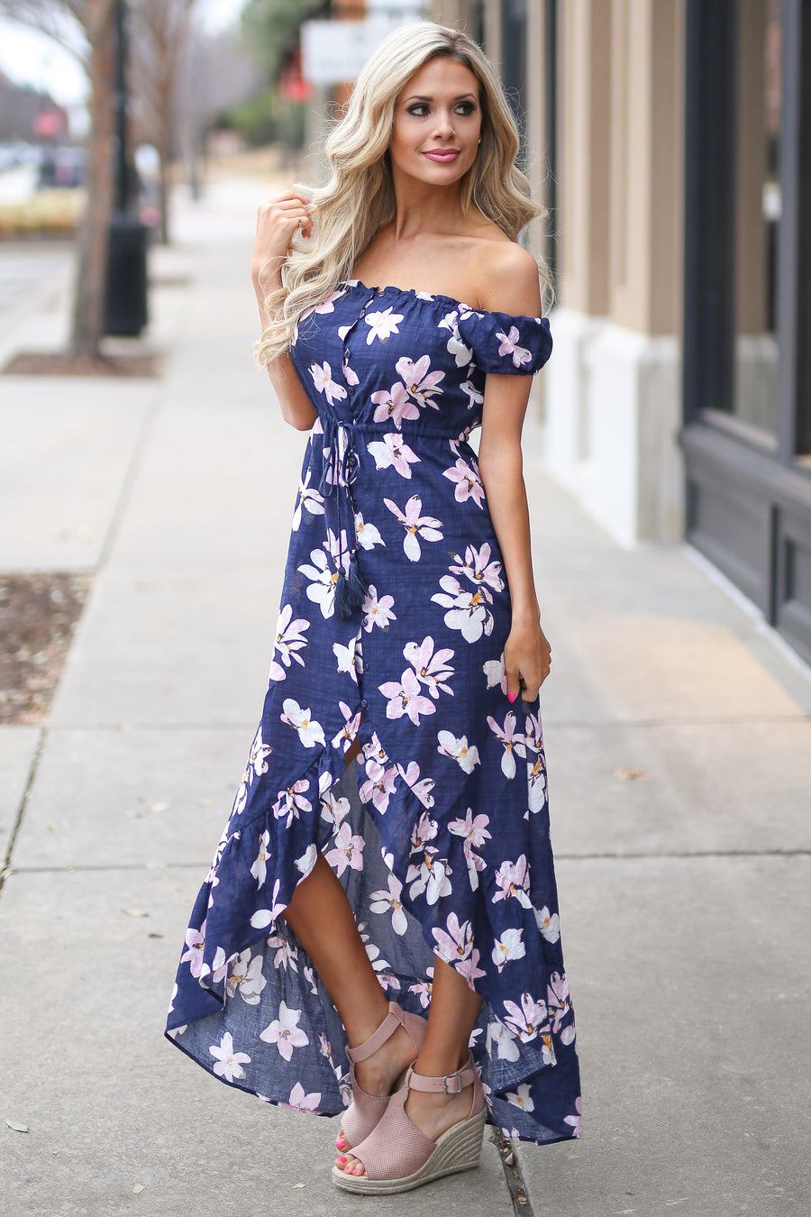 Tropical Paradise Maxi Dress - Navy off the shoulder floral high low dress, front, Closet Candy Boutique