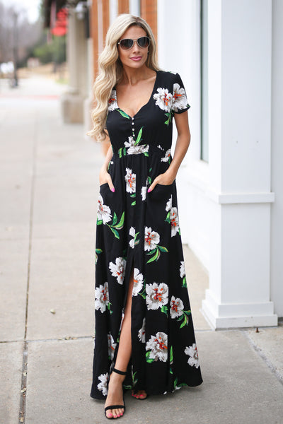 LOVE STITCH Maldives Maxi Dress - Black floral v-neck maxi dress, front, Closet Candy Boutique