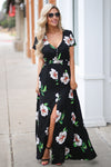 LOVE STITCH Maldives Maxi Dress - Black floral v-neck maxi dress, outfit, Closet Candy Boutique