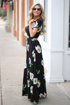 LOVE STITCH Maldives Maxi Dress - Black floral v-neck maxi dress, side, Closet Candy Boutique