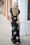 LOVE STITCH Maldives Maxi Dress - Black floral v-neck maxi dress, back, Closet Candy Boutique