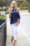 Keep Your Promise Top - Navy embroidered cold shoulder top, front, Closet Candy Boutique