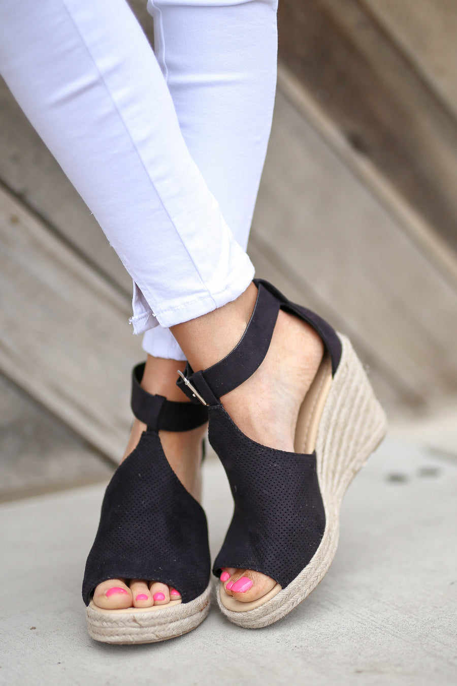 One Step Ahead Wedges - cute black peep toe jute wedges, side, Closet Candy Boutique