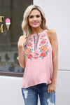 Floral State Of Mind Top - Blush floral sleeveless top, front, Closet Candy Boutique