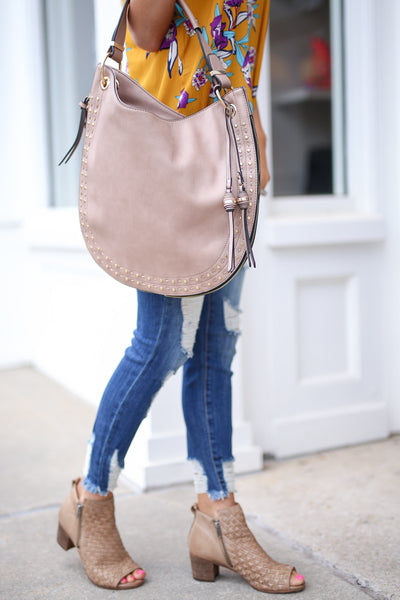 On the Double Bag - Taupe vegan leather shoulder bag, front, Closet Candy Boutique