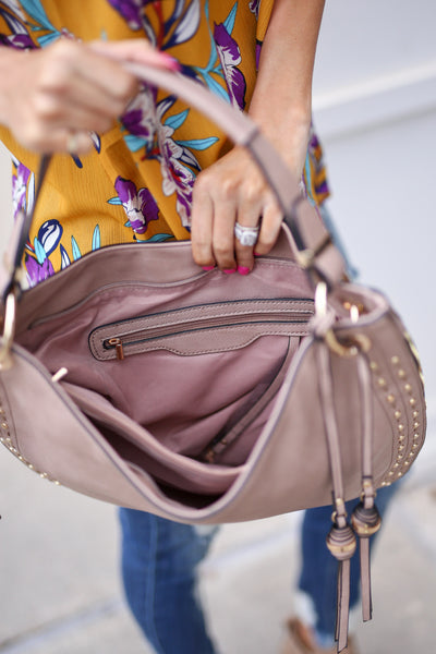 On the Double Bag - Taupe vegan leather shoulder bag, interior, Closet Candy Boutique